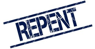 REPENT blue distressed rubber stamp. Illustration concept Stock Image