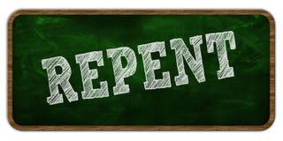 REPENT scritto con gesso sulla lavagna verde Struttura di legno Immagine Stock Libera da Diritti