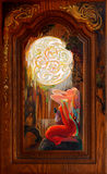 repentance Porträt des schönen Mädchens träumend in der Fantasie Celticumwelt Ölgemälde auf bretonischer Eiche Stockbilder