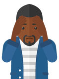 Repentant man clutching his head. Repentant an african-american man clutching his head vector flat design illustration  on white background Royalty Free Stock Images