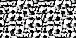 Repetição de sobreposição do teste padrão das bolas de futebol Fotos de Stock Royalty Free