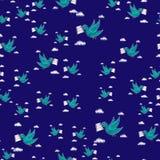 Repetição levando do teste padrão do envelope da pomba sem emenda na cor azul para algum projeto O pássaro entrega uma mensagem P Fotos de Stock Royalty Free