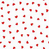 Repetición de corazones rojos en el fondo blanco Modelo inconsútil romántico stock de ilustración