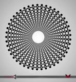 Repetición del modelo blanco y negro circular El fondo redondo para la tecnología, ordenadores diseña stock de ilustración