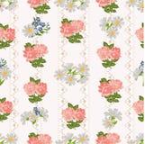 Repetición del modelo con las flores en un fondo del cordón rústico Imagen de archivo libre de regalías