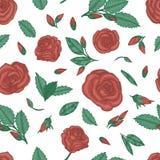 Repetici?n del modelo con las rosas stock de ilustración
