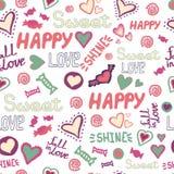 Repetición dulce feliz de las palabras del modelo del garabato del amor inconsútil de los corazones Vector disponible ilustración del vector