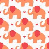 Repetindo corações e silhuetas abstratas dos elefantes tirados à mão Teste padrão sem emenda do bebê bonito Imagens de Stock Royalty Free
