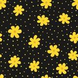 Repetindo flores e o às bolinhas irregular Teste padrão sem emenda floral para mulheres ilustração do vetor