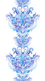 Repetindo o inverno limite o quadro, listra do ornamental da aquarela Imagens de Stock Royalty Free