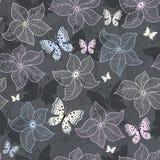 Repetindo o teste padrão floral cinzento Imagens de Stock Royalty Free