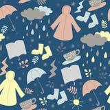 Repetindo o teste padrão sem emenda do dia chuvoso tempere no estilo da garatuja ilustração do vetor