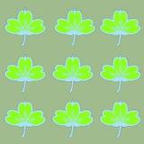 Repetindo o teste padrão verde e azul dos trevos Fotografia de Stock Royalty Free