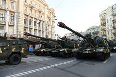 Repetities voor de militaire Dag van de paradeonafhankelijkheid in Kiev, de Oekraïne stock afbeeldingen