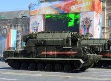 Repetitieviering van de 72ste verjaardag van Victory Day WO.II op Rood Vierkant Tactische missil Voor alle weersomstandigheden va Royalty-vrije Stock Foto's