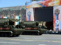 Repetitieviering van de 72ste verjaardag van Victory Day WO.II op Rood Vierkant Tactische missil Voor alle weersomstandigheden va Royalty-vrije Stock Afbeelding