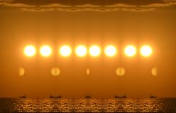 Repetition. A beautiful sunset gave little time exposure to this awesome image in repetition stock photography