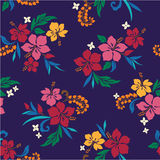 Repetition of Hibiscus. I drew Hibiscus for a design Royalty Free Stock Image