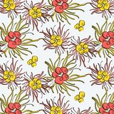 Repetition spring flowers decoration. Abstract suer bright botanical art. Floral composition fabrics. Bouquet blossom background. In yellow red colors royalty free illustration