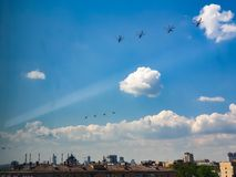 Repetition of Victory Day in Moscow. Helicopters. Repetition victory day moscow helicopters royalty free stock images