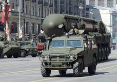 Repetitionen av militären ståtar i Moskva Arkivbild