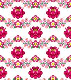 Folk art seamless floral vector pattern, Polish cute traditional ornaments, folk designs with flowers from Zalipie, Poland - texti. Repetitive background with stock illustration