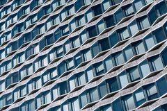 Parisian modern blue facade. Repetitive blue motifs of the facade of the Mirabeau tower designed by the architects Le Maresquier & Heckly in 1972, this tower is royalty free stock image