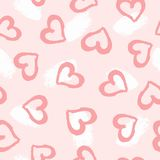 Repetitive brushstrokes and hearts drawn by hand with watercolour brush. Cute romantic seamless pattern. Sketch, paint, watercolor. Girly vector illustration stock illustration