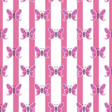 Repetitive butterfly on a striped pink and white background, seamless. Repetitive butterfly on a striped pink and white background. EPS 8 vector illustration