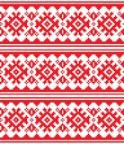 Scandinavian, Nordic vector seamless pattern, Lapland long red folk art design, Sami people traditional embroidery Royalty Free Stock Photography