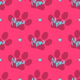 Repetitive heart, silhouette of cat`s footprint and text Meow. Cute seamless pattern. Colorful vector illustration royalty free illustration