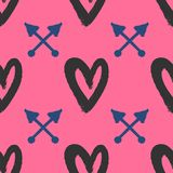Repetitive hearts and crossed arrows drawn by hand with rough brush. Stylish seamless pattern. Sketch, watercolor, paint. Cute vector illustration stock illustration