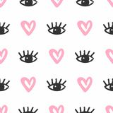 Repetitive hearts and eyes with eyelashes drawn by hand with a rough brush. Cute seamless pattern. Sketch, watercolor, grunge. Simple vector illustration stock illustration
