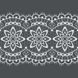 Seamless lace vector design - detailed retro wedding lace pattern with flowers and swirls, symmetric ornament vector illustration