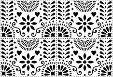 Folk art vector seamless pattern, Mexican black and white design with flowers inspired by traditional art form Mexico. Repetitive monochrome background with vector illustration