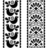 Folk art seamless pattern - Mexican style long stripes design with birds and flowers in black and white Stock Photography