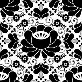 Russian seamless folk pattern, traditional black and white design with flowers Stock Image