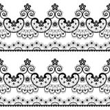 Decorative seamless lace pattern - vector lace repetitive emrboidery design, retro wedding art in black on white background stock photography