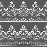 Decorative seamless lace pattern - vector lace repetitive emrboidery design, retro wedding art in white on gray background vector illustration