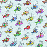 Repetitive pattern with fish who listen to music Royalty Free Stock Images