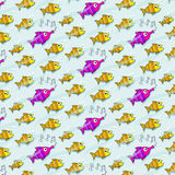Repetitive pattern with fish who listen to music. Vector illustration of seamless with many fish Stock Photography