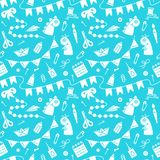 Repetitive seamless pattern with objects for kids creative activity. Suitable for wallpaper, wrapping or textile stock illustration