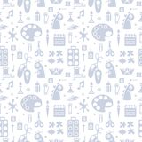 Repetitive seamless pattern with objects for kids creative lessons in flat style royalty free illustration