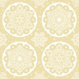 Christmas vector folk pattern - white snowflake mandala seamless design on gold background, Scandinavian style Xmas wallpaper, wra Stock Photography