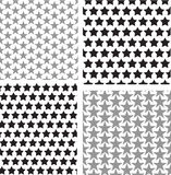 Repetitive star pattern set vector black and white Stock Images