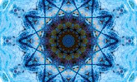 Repetitive star-shaped pattern and a dark core. Bright blue mandala Art with a repetitive star-shaped pattern and a dark core vector illustration