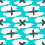 Repetitive strokes of watercolour brush and crosses drawn by hand. Seamless pattern. Grunge, sketch, paint, watercolor. Vector illustration stock illustration