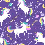 Hand drawn seamless vector pattern with cute unicorns, stars and planet. vector illustration