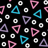 Triangle vector seamless pattern - 80s, 90s style background with geometric shapes. Repetitive wallpaper, textile design, backdrop with abstract elements on Royalty Free Illustration