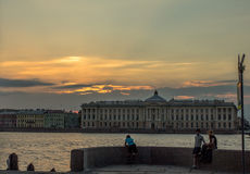 Repin Academy of Arts. Saint Petersburg. View of the Neva river, the university embankment and building of the Academy Royalty Free Stock Images